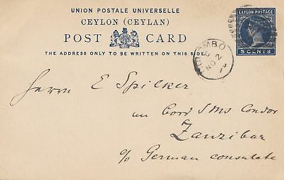 Ceylon: 1896: post card Colombo to Zanzibar - German Consulate