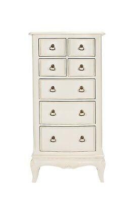 Bordeaux Antique White Mahogany French Style 7 Drawer Tall Boy /Chest Of Drawers