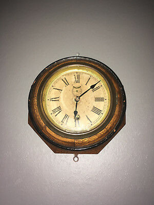 Antique Waterbury Ships Wall Clock Key Wind 2-Tone Wood And Brass & Works Great!