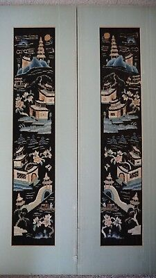Chinese antique black embroidery two pieces