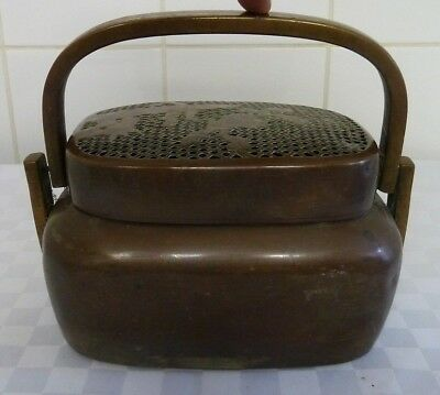 Vintage Chinese Copper and Brass / Bronze Handled Hand Warmer Censer