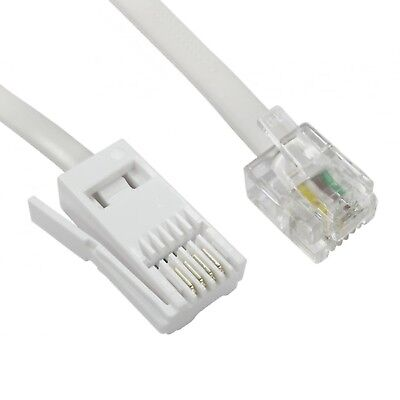 RJ11 to BT Cable Modem FAX Telephone Landline Phone Male Plug BT Socket 3M Lead