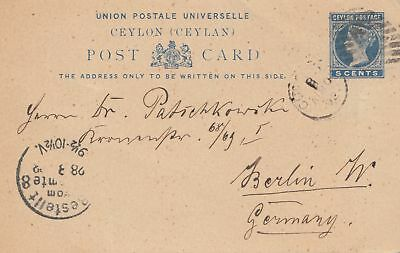 Ceylon: 1892: post card to Berlin