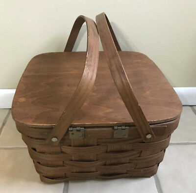 Picnic Basket w/ hinged lid or Use as a 2 Pie carrier Made in VT USA