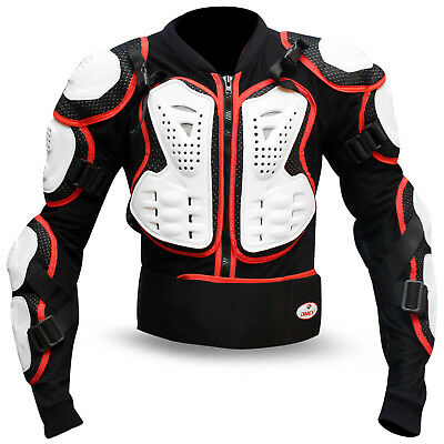 Motocross Motorbike Body Armour Motorcycle Protection Guard Jacket Black/White