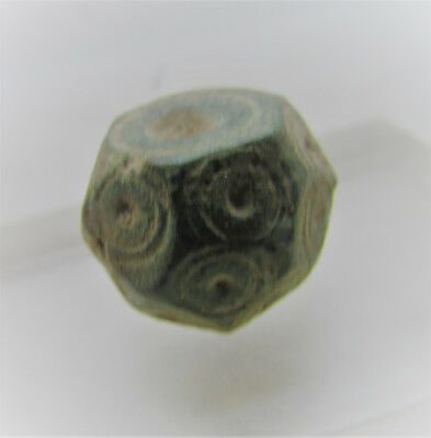 Ancient Byzantine Era Bronze Polygonal Barrel Weight With Ring And Dot Motifs