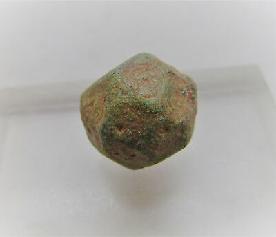 Ancient Byzantine Era Bronze Polygonal Barrel Weight With Ring And Dot Motifs.