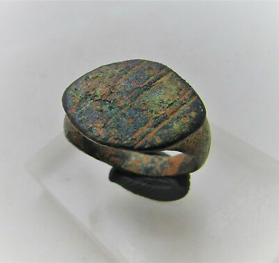 Roman Era Civilitas Bronze Signet Ring With Lozenge Design On Bezel