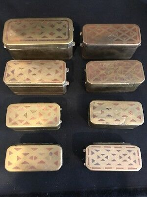 Lot Of 8 Antique Copper Inlaid Brass Betel Nut Boxes - As Is