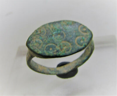 Ancient Anglo Saxon Bronze Ring With Evil Eye Motifs