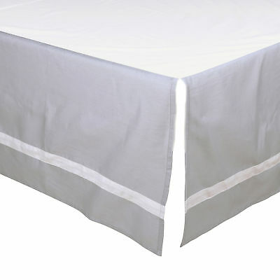 Grey Tailored Crib Dust Ruffle with White Stripe by The Peanut Shell