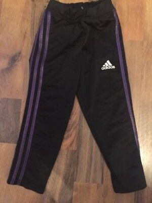 Adidas Black And Purple Striped Girls Cropped Gymnastic Leggings Age 12/14 B13