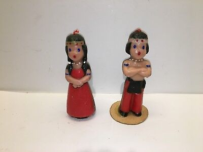 Vintage Pair Of Gurley Thanksgiving Candles Native American Indian Boy And Girl
