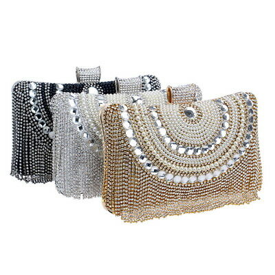 Womens Clutch Bag Pearl Beaded Crystal Wedding Party Bridal Prom Evening Handbag