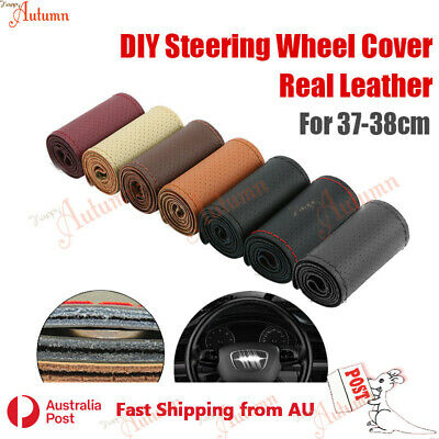 Perforated Real Leather Car 38cm Steering Wheel Cover Auto SUV DIY Sew Van Truck