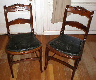 Pair of Antique Carved Wood Chairs w Tarred Linen Seats