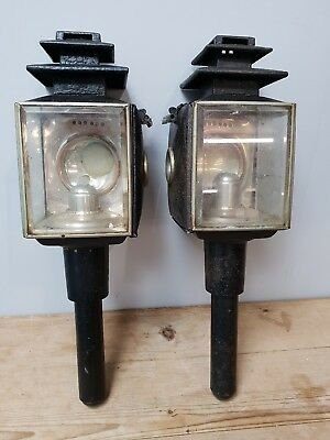 Pair of Antique Candle Carriage Lamps
