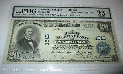 $20 1902 Marshall Michigan MI National Currency Bank Note Bill #1515  PMG VF!