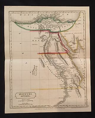 1827 hand-colored MAP of ANCIENT EGYPT Africa ALEXANDRIA Nile River CLEOPATRA