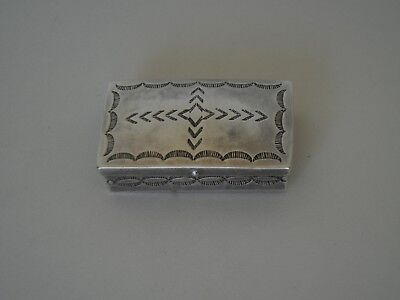 Vintage Navajo Silver Stamp / Pill Box w/ hand stamped designs