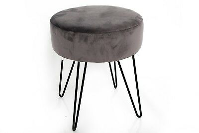 Grey velvet dressing table foot stool with wire legs 3900 grey velvet dressing table foot stool with wire legs greentooth Choice Image