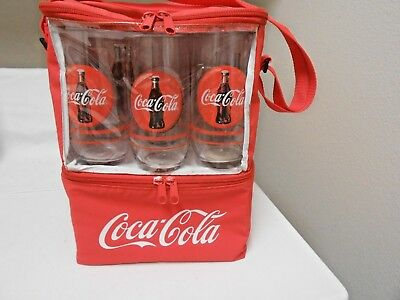 Coca-Cola Insulated Thermos Tote Cooler Coke Lunch Bag Vinyl Zipper With Glasses