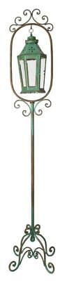Antique Style Green Wrought Iron metal Floor Standing Candle Lantern Lamp