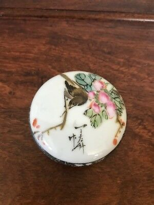Chinese Antique Famille Rose Porcelain Ink Box Republic Period With Mark