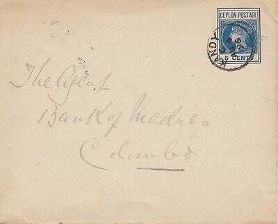 Ceylon: 1896: letter from Kandy to Colombo