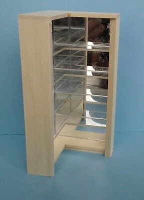 Dollhouse Miniature Handcrafted Wood Corner Mirror w/ clear shelves display 1:12