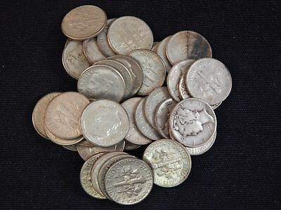 43 assorted Roosevelt and Mercury dimes