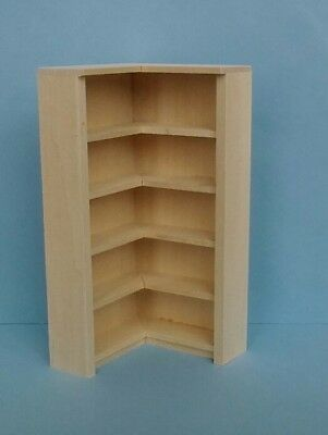Dollhouse Miniature Handcrafted Wood Angle unfinished book / display shelf 1:12