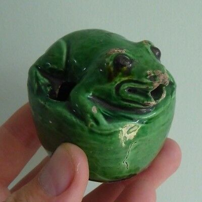 Chinese Green Glaze Frog Scholars Inkwell or Water Dropper Porcelain