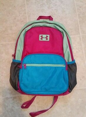 UNDER ARMOUR UA Blue Pink Green Youth Small Backpack Fair Condition ... d6efcd5076ef2