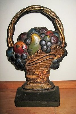 Antique 1930s Cast Iron CJO Door Stop Fruit In French Basket All Original Paint