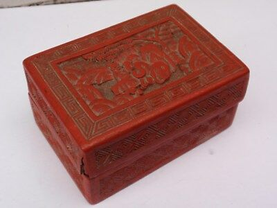 Antique Oriental Chinese Carved Cinnabar Lidded Box