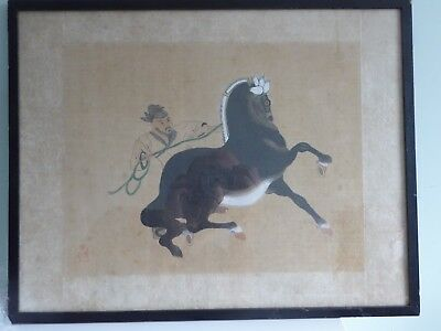 Chinese Antique Painting on Silk - Man on Horse Back - Archaic Seal Mark FINE