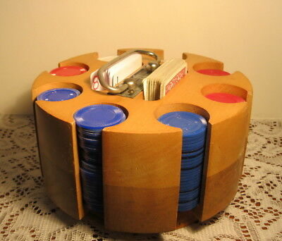 Vintage Wood Rotating Poker Chip Set Original Cards