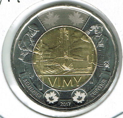 2017 Canadian Brilliant Uncirculated Commemorative Vimy Ridge Two Dollar Coin!