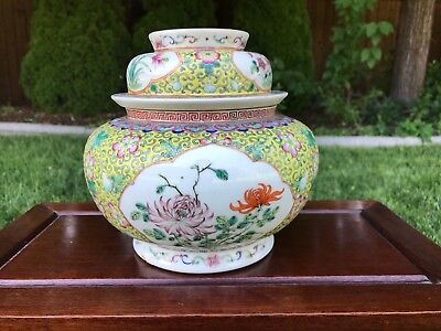 Unusual Large 19Th C. Antique Chinese Famille Rose Covered Jar Tureen With Mark