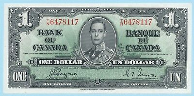 Original 1937 BANK OF CANADA KGVI $1 **Coyne & Towers** (( UNC )) Beauty
