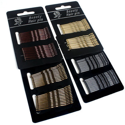 60Pcs Set Salon Black Invisible Flat Top Bobby Pins Grips Barrette Hair Clips