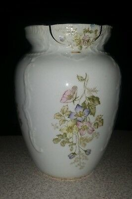 Vase Iron Stone China Warranted. Floral on white. Gold banded.