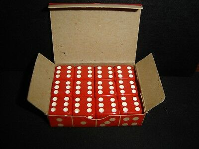 """Orig Box 12 Vintage Rare Opaque Red 5/8"""" Crisloid Dice-NM-Beautiful Collectors"""