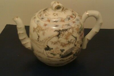 Rare, Early 19th Century Oriental Teapot,Hand Painted bamboo handle effect