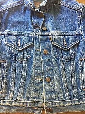 Vintage LEVI'S Boys Girls Kids Blue Denim Jean Jacket Size 4 Made In USA