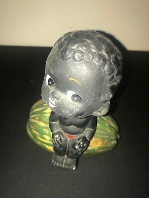 Rare Style Vintage Black Americana Bobble Head Watermelon Bank Florida