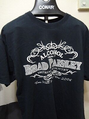 Brad Paisley Alcohol Time Well Wasted 2006 Tour Country Shirt XL Extra Large