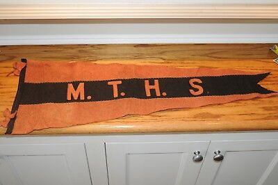 """Old Pennant 1920s Vintage Antique 11' by 29.5"""" In  Wool Felt Flag MTHS Historic"""