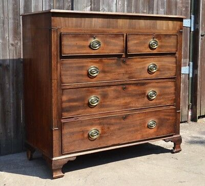 Antique Mahogany George III Chest of Drawers 5 Drawers Brass Handles Original